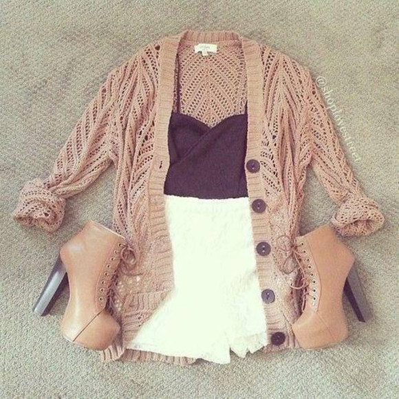 beige sweater jacket high waisted short black crop top shorts tank top crop tops coat