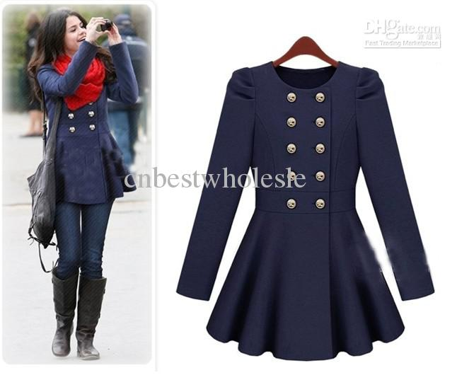 Luxury Wool Coats Duffle Coat Slim Women Red Coat GIRL Skirt ...