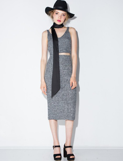 Skirt: knit skirt, knit pencil skirt, midi skirt, grey skirt ...