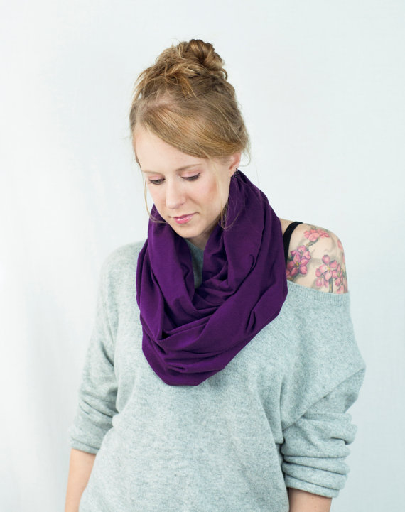 Purple Infinity Scarf, SALE Aubergine Scarf, Dark Plum Scarf, Eggplant Jersey Cotton Scarf, Circle Loop Women