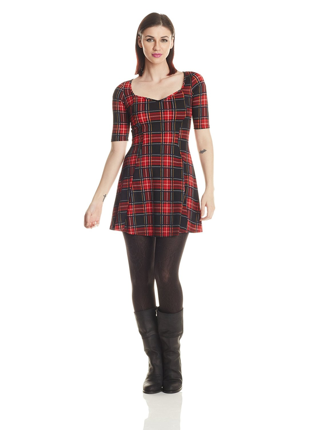 12pm by mon ami women's tartan plaid skater dress with sweetheart neck at amazon women's clothing store: