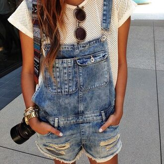 pants dungarees denim vintage jumpsuit jeans shorts t-shirt sunglasses overalls shirt denim overalls round sunglasses white t-shirt jewels net mesh sheer white top blouse summer girl denim vintage levis denim shorts distressed denim shorts ripped shorts ripped blue hipster white shirt see through cute pretty over ally's rips tears fashion style mesh white jean dungarees jumper summer outfits romper