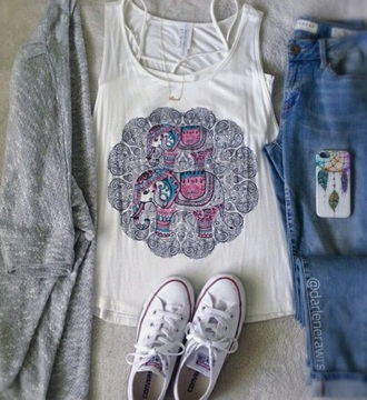 blouse boho jeans chic white clothes phone cover