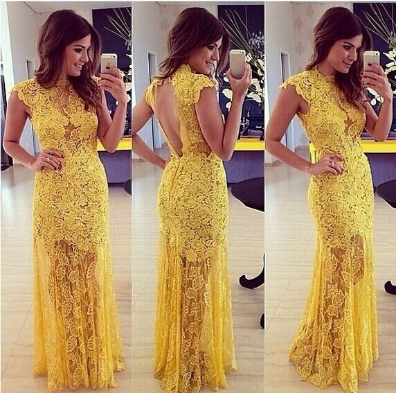 Aliexpress.com : Buy 2014 Slim stylish short sleeved dress sexy halter dress embroidered openwork lace yellow Long Evening Dress from Reliable dress string suppliers on Lady Go Fashion Shop