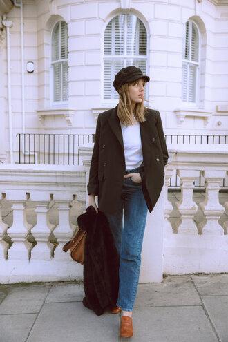 jeans tumblr blue jeans denim shoes brown shoes loafers blazer black blazer hat fisherman cap