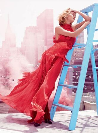 dress gown red dress editorial rosie huntington-whiteley prom dress
