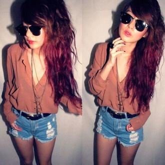 t-shirt blouse perf braun hipster hippie