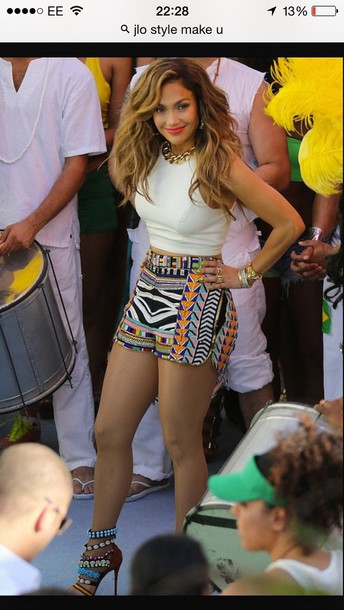 shorts jennifer lopez tribal print shorts multicolor