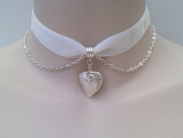 jewels choker necklace ribbon white heart pale tumblr chain necklace