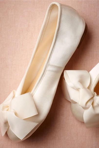 Shoes White Satin Bows Ballet Flats Wedding Shoes