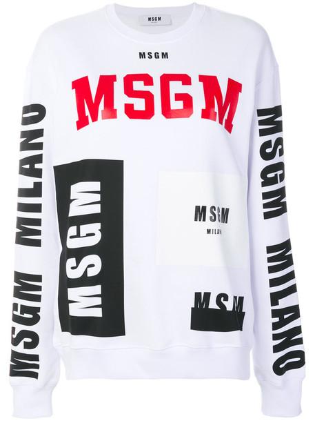 MSGM - branded sweatshirt - women - Cotton - M, White, Cotton
