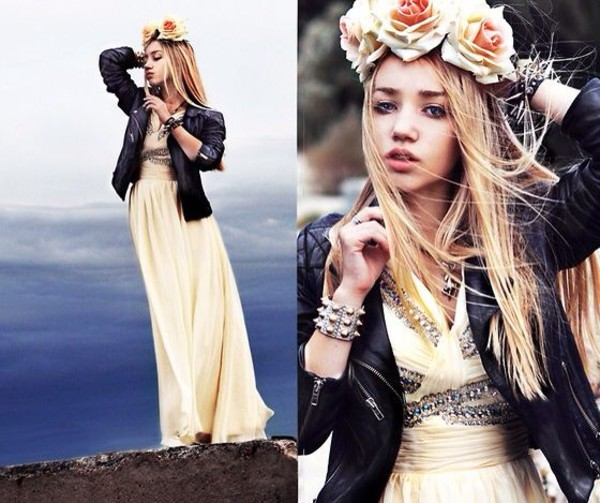 dress aksinya air leather jacket maxi dress self made flower crown flower crown bracelets jacket ukraine