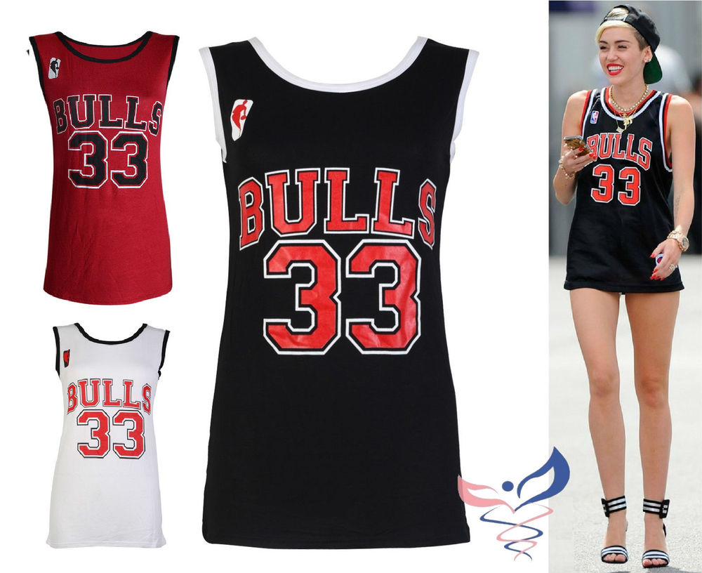Women New Top Chicago Bulls 33 Celebrity Miley Cyrus Basketball Vest Shirts | eBay
