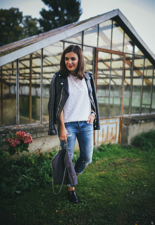 dariadaria blogger jacket top shoes jeans bag jewels