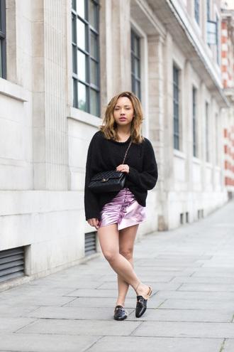 skirt metallic skirt sweater loafers fur loafers blogger blogger style chanel shoulder bag