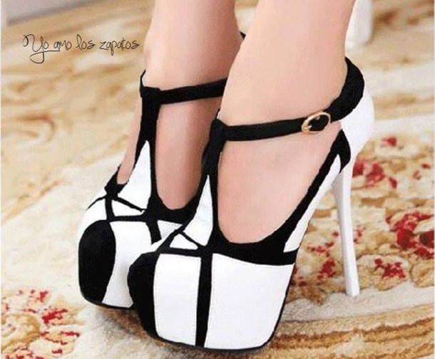 Black And White High Heel Shoes - Qu Heel