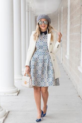 suburban faux-pas blogger coat dress sunglasses shoes bag beret fall outfits pumps white coat louis vuitton bag