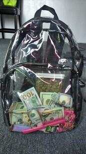 bag,back,pack,backpack,money,transparent  bag,dope wishlist
