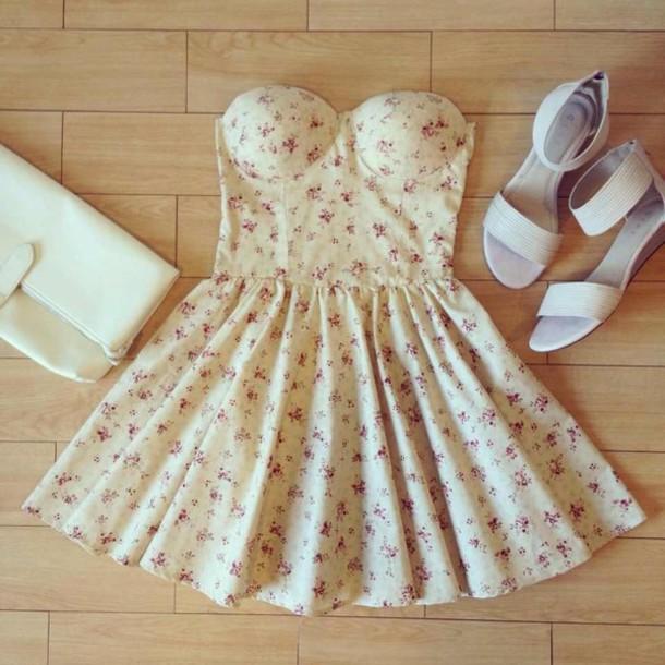 shoes dress cute dress floral bustier summer dress