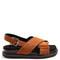 Cross-strap calf-hair sandals