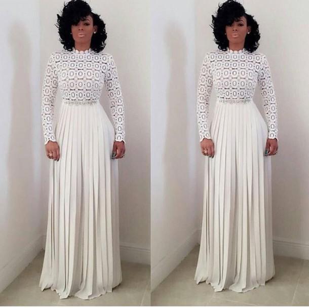 Flowy White Long Sleeve Dress - Shop for Flowy White Long Sleeve ...