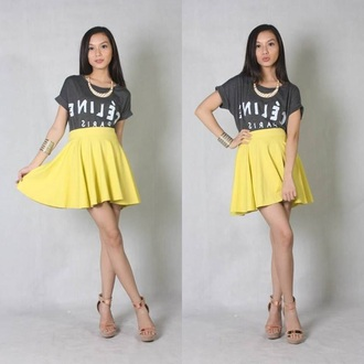 yellow skirt fashion cotton jersey skirt high waisted skirt