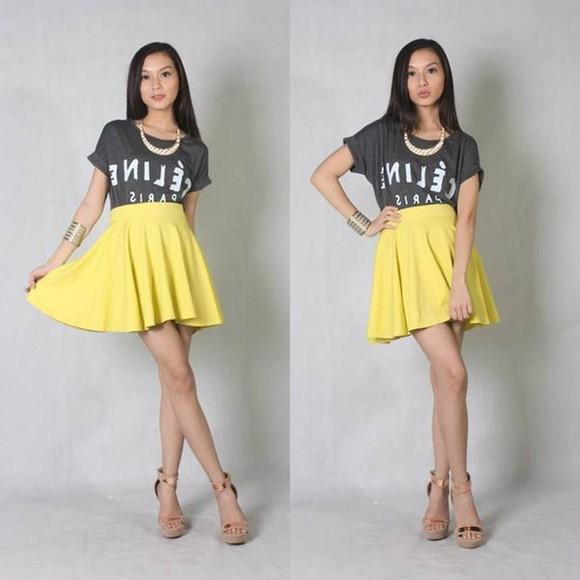 midi skirt skirt yellow fashion cotton jersey skirt high waisted skirt
