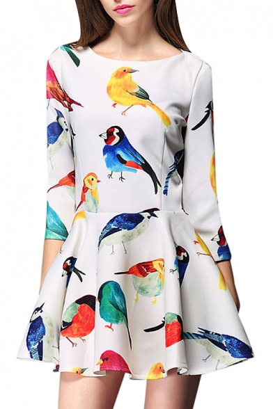Animal print round neck 3/4 sleeve mini dress
