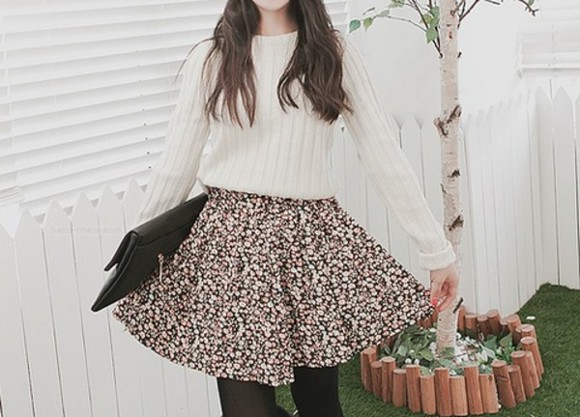 liberty flowers skirt sweater