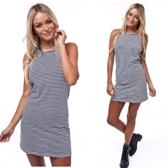 black boots dress stripe stripes striped striped dress high neck dress