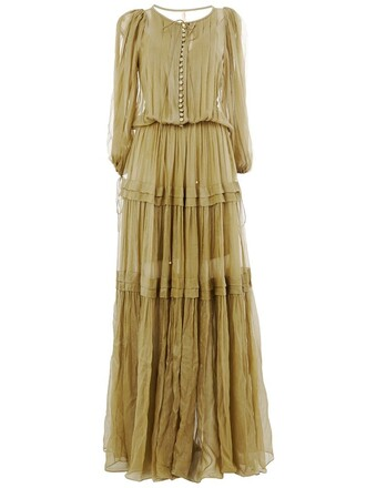 gown pleated green dress