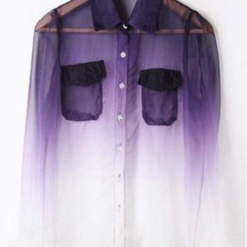 astalind23's save of Purple White Gradient Pockets Long Sleeve Sheer Blouse S068 on Wanelo
