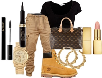 pants cargo pants bag earrings t-shirt shoes timberlands