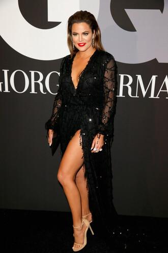 dress black sandals grammys 2015 khloe kardashian shoes
