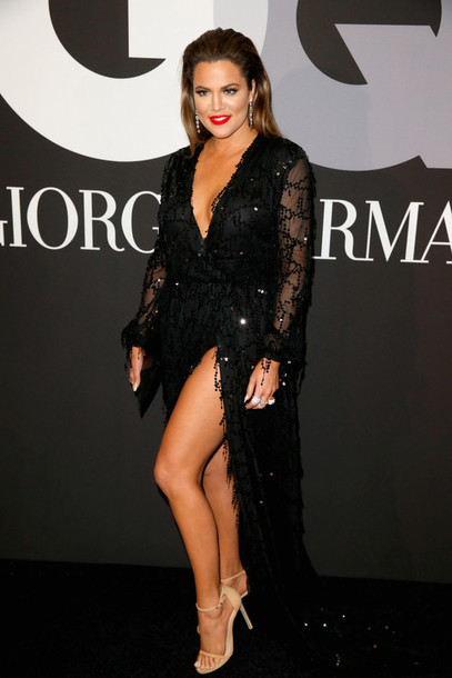dress black sandals grammys 2015 khloe kardashian shoes