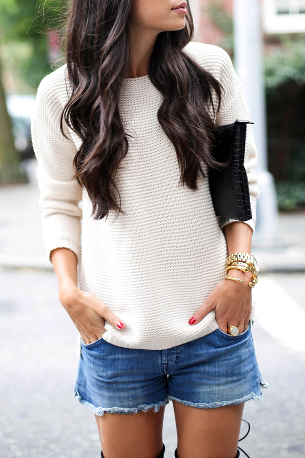 Denim cut offs, Knit sweater, and Over the knee boots