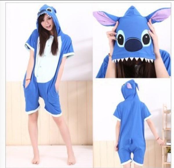 2015 new arrival fashion anime unisex adult animal pajamas blue lilo