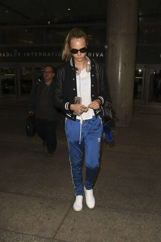 pants sweatpants cara delevingne jacket sneakers bomber jacket