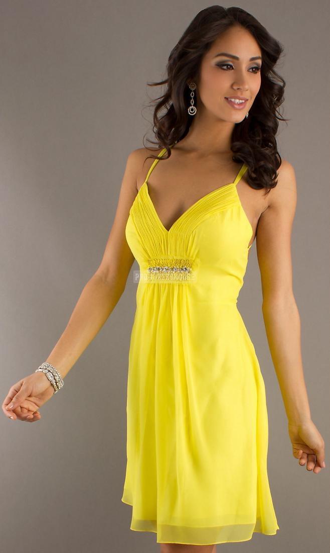 Beading Chiffon Spaghetti Straps A-line Keyhole Daffodil Prom Dress - Promdresshouse.com