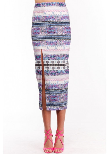 "Chic ""aztec carnical"" side split maxi skirt – glamzelle"