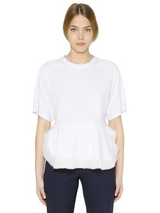 t-shirt shirt chiffon cotton white top