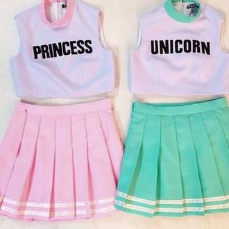 t-shirt top skirt pink skirt