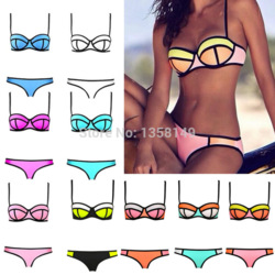 Online shop 2014 fashion women sexy bikini with rims triangle bra bikini women's hot swimsuits biquini ladies swimwear beachwear bikini set