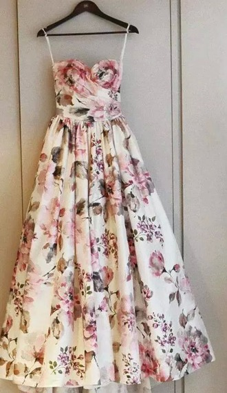 dress robe flowers fleurs long spring dress