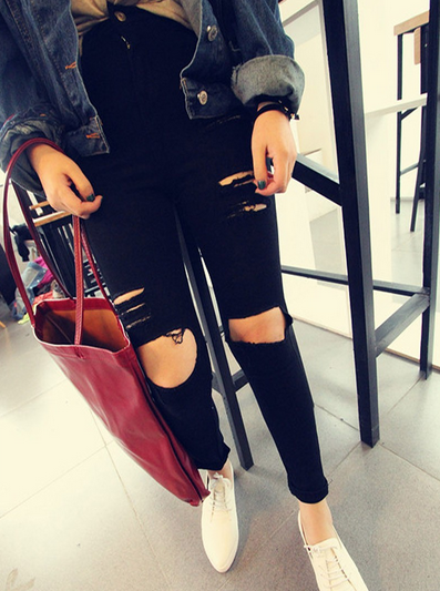 Black skinny ripped hole high waist jeans