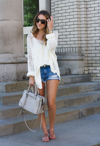 twenties girl style blogger sweater shorts shoes jewels sunglasses bag handbag denim shorts sandals flats summer outfits