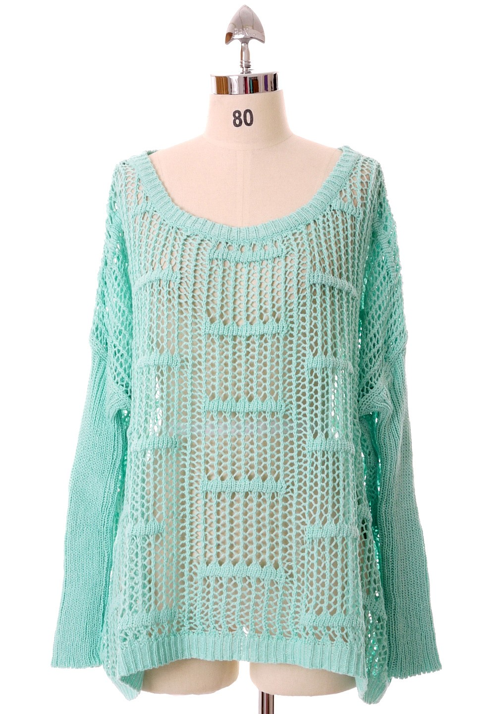 b70caadb213 Green Sweater - Oversized Mint Green Cut Out