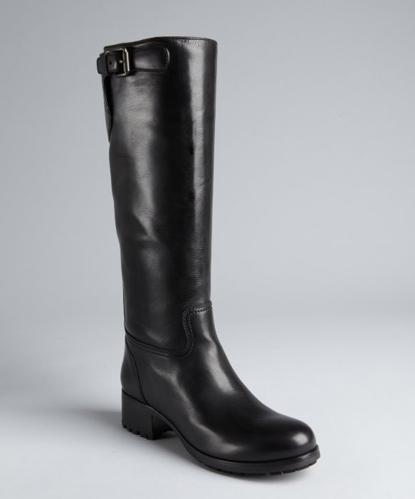 Prada Prada Sport black leather buckle detail riding boots | BLUEFLY up to 70% off designer brands