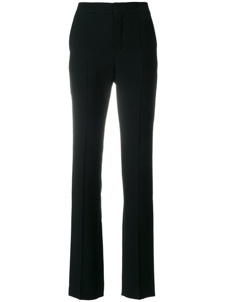 studded women black silk pants
