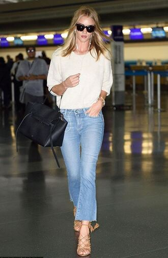 sweater jeans sandals rosie huntington-whiteley sunglasses shoes cropped flared jeans kick flare kick flare jeans cropped bootcut jeans cropped bootcut blue jeans